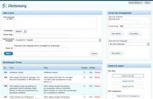 xili-dictionary: Admin UI