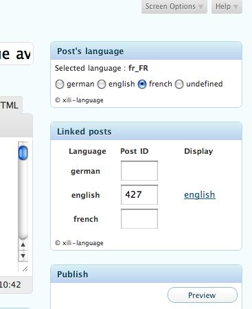 the language setting in post writting UI