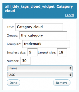widget UI : example where cloud of tags is dynamic and according categories and include group trademark.