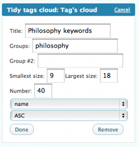 widget UI : display a sub-group of tags named philosophy.