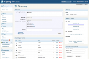 xili-dictionary: admin settings UI