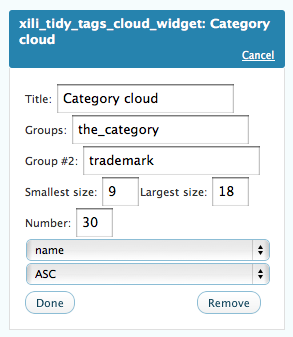 A tidy tags cloud sub-selected with current category