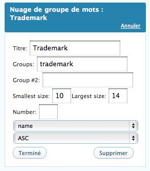 le widget va afficher un nuage avec les mots clés du groupe 'trademark'