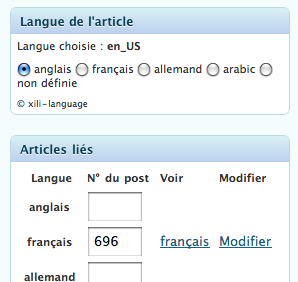 lien de modification de l'article lié