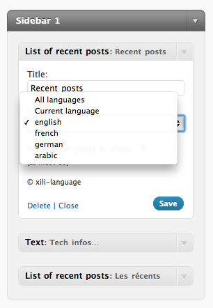 xili-language : le widget Articles récents