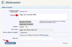 Modifying a translated term