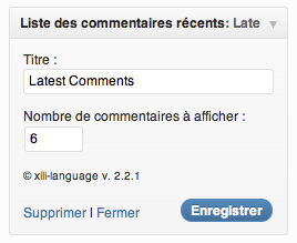 widget latest comments (fr)